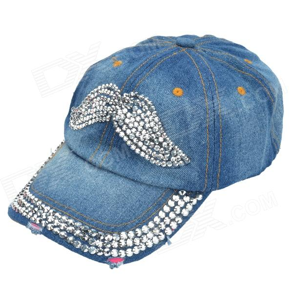 Fashionable Rhinestone Decoration Handlebar Mustache Pattern Denim Cricket Cap - Deep Blue