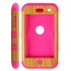 Wood Line Style Protective Silicone Back Case for IPOD TOUCH 4 - Deep Pink + Yellow