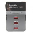 Portable 3-Port-USB Digital-Ladestation für Handy / Tablet PC / Digitalkamera (EU-Stecker)