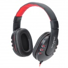 OVLENG X4 Hi-Fi Stylish Stereo Headphones w/ Microphone for Cellphone / PC - Black Red (3.5mm Plug)
