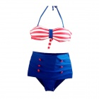 B-1091 Fashionable High-waist Bottom + Halter Neck Top Bikini Set - Red + Blue (XL)