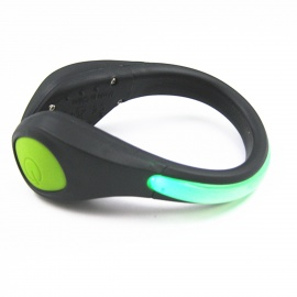 IDOMAX Outdoor Sports Gym LED Safety Shoe Clip for Biking / Running / Jogging - Green + Black
