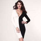 LC2976-1 Fashionable Deep V-Neck Long Sleeves Polyester Dress - White + Black (Size L)