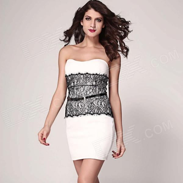 LC2977-1 Fashionable Chest Wrap Bodycon Polyester Dress - White (Size L) от DX.com INT