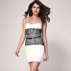 LC2977-1 Fashionable Chest Wrap Bodycon Polyester Dress - White (Size L)