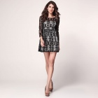 LC2961 Fashionable Hollow Out Style Backless Polyester Long Sleeves Dress - Black