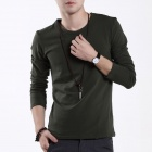 FENL 695 Men's Slim Round Neck Long Sleeves Cotton T-Shirt - Blackish Green (Size XL)