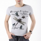 FENL G880-1 Men's Slim Dragonfly Pattern Short Sleeves Round Neck Cotton T-Shirt  (Size S)