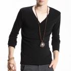 FENL 6689 Men's Fashion Slim V-Neck Long Sleeves T-Shirt Tee - Black (Size XL)