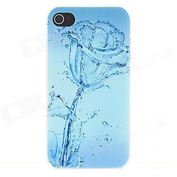 Kinston Water Rose Pattern Protective Matte Plastic Hard Back Case for IPHONE 4 / 4S - Blue kinston kst00045 grid pattern protective plastic hard back case for iphone 4 4s white black