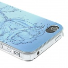 Kinston Water Rose Pattern Protective Matte Plastic Hard Back Case for IPHONE 4 / 4S - Blue
