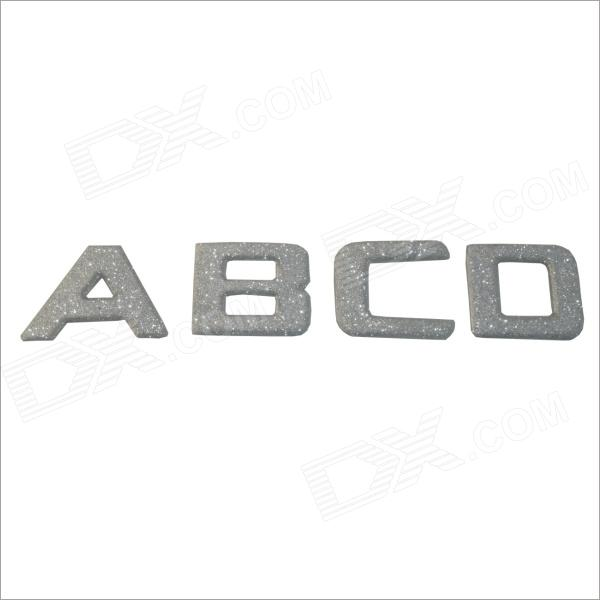 "DIY ""ABCD"" Pattern Plastic Car Bling Sticker - Silver"