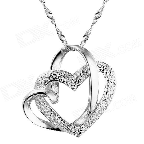 eQute PSIW23C1 Fashionable Heart Shaped Pendant Necklace for Women - Silver silver necklace jewelry hollow heart shaped pocket watch necklace pendant chain quartz watches clock women gift ll 17