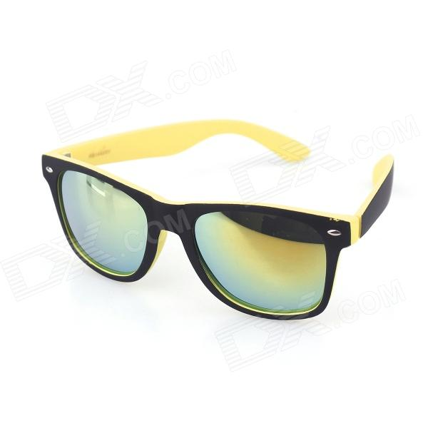 UV400 Radiation Protection Yellow REVO Resin Lens Sunglasses - Black oumily fashion yellow plated revo resin lens reflective sunglasses light green black