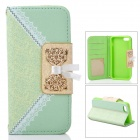 Elegant Protective PU Leather Flip Open Case w/ Card Slots / Chain for IPHONE 5C - Green + White