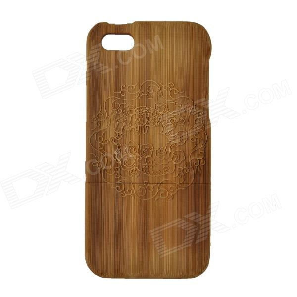 Carve Pattern Protective Wooden Back Case for IPHONE 5 - Dark Brown