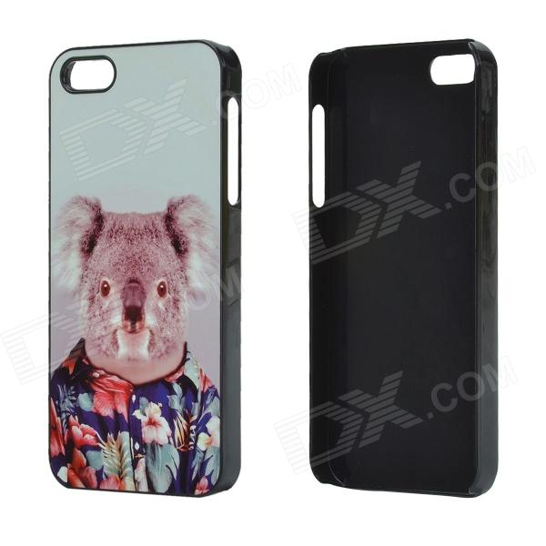 Koala in Aloha Shirt Pattern Protective Aluminum Alloy Back Case for IPHONE 5 / 5S - White + Black