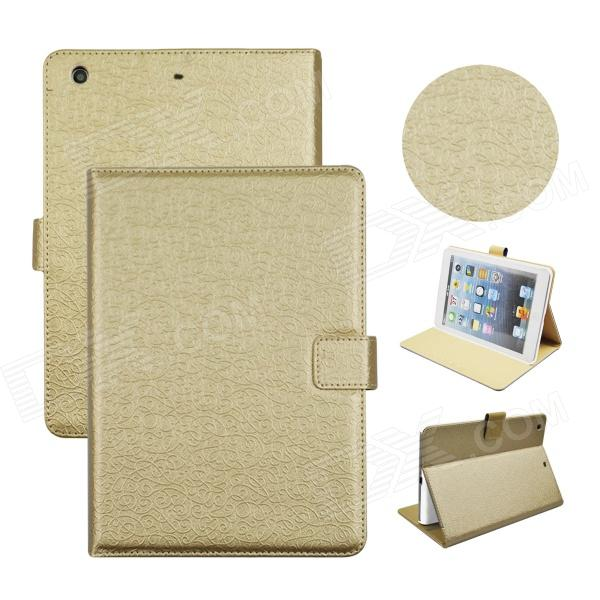 Angibabe Court Flower Protective PU Leather Case Cover Stand w/ Card Slot for IPAD AIR - Golden seed dormancy and germination