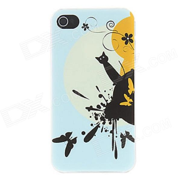 Kinston Lovely Black Cat Pattern Plastic Hard Case for IPHONE 4 / 4S - Blue + Black water drops style protective plastic back case for iphone 4 blue
