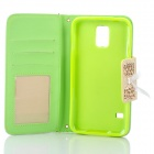Elegant Protective PU Leather Flip Open Case w/ Card Slots / Chain for Samsung Galaxy S5