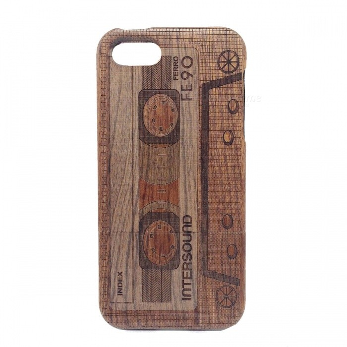 Retro Cassette Pattern Protective Wood Back Case for IPHONE 5 / 5S stylish bubble pattern protective silicone abs back case front frame case for iphone 4 4s