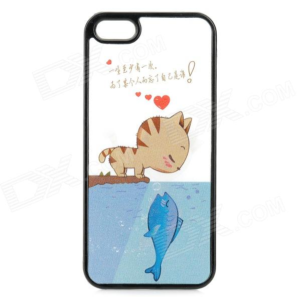 3D Cat Kisses Fish Pattern Protective PC Back Case for IPHONE 5 / 5S - White + Blue + Multi-Colored 3d cartoon cat kisses fish pattern protective abs back case for iphone 6 plus white green