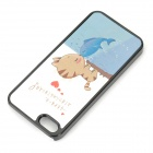 3D Cat Kisses Fish Pattern Protective PC Back Case for IPHONE 5 / 5S - White + Blue + Multi-Colored