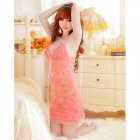 Fashionable Sexy Spandex + Polyester Sleep Dress w/ T-Back for Women - Pink (Free Size)