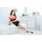 Sexy Strapless Lace Sleep Dress w/ T-Back / Strap for Women - Black + Red (Free Size)