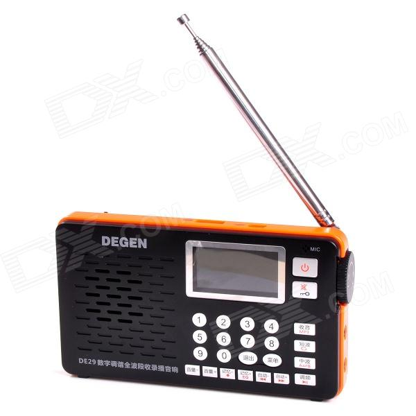Degen DE29 Digital FM Stereo MW / SW DSP Receiver Radio w/ Recording / MP3 Player -  Black + Orange tivdio portable fm radio dsp fm stereo mw sw lw portable radio full band world receiver clock
