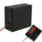 2 x D Size Battery Power Source Holder Case Box with Leads and Switch - Black