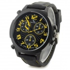 Men's Fashionable Silicone Wristband Analog Quartz Watch - Black + Yellow (1 x 377)
