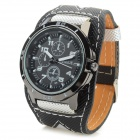 Men's Fashionable PU Wristband Analog Quartz Wrist Watch - Black + Grey (1 x 377)