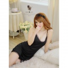 Women's Hollow Out Style Sexy V-Neck Spandex Sleep Dress w/ T-back - Black