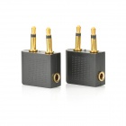 3.5mm Double Male to 3.5mm Female Audio Adapter - Black + Golden (2 PCS)