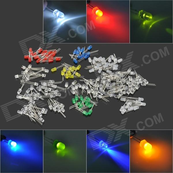 QIAO TIAN DIY 5mm LED Light Emitting Diode Set - White + Silver (190 PCS)