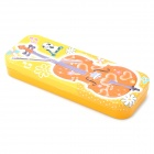 DEDO MG-25 Cute Violin Pattern Iron 2-Layer Children Pencil Box - Orange + Yellow