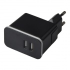 Universal Dual USB Detachable 100~240V EU Plug Power Charging Adapter - Black