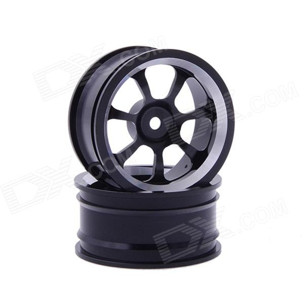 7-spoke Aluminum Alloy Wheel for 1:10 RC Car - Black (2 PCS) hsp 1 10 off road buggy body 2pcs 31 17 6cm 10706 10707 106ma2 rc car electric rc car bodyshell for 94107 94107pro