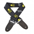 DEDO MA-52 Fashion Skull Pattern Polyester Adjustable Guitar / Bass Strap - Black + Yellow