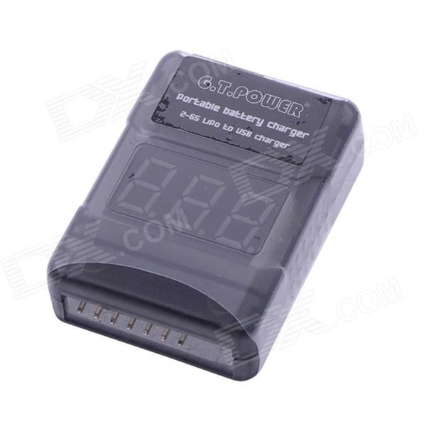 G.T.Power Portable 5V 1000mA 2-6S Li-Po to USB Battery Charger - Black