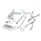 Stainless Steel Tattoo Body Piercing Gun + Pliers Tool Kit - Silver