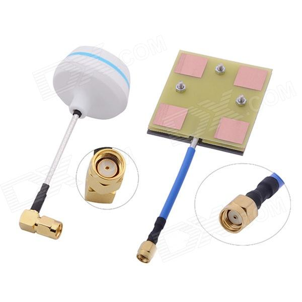 5.8G 14dBi High Gain Panel Antenna w/ Right Angle RT-SMA Female Antenna Gains for FPV rp sma female to y type 2x ip 9 ms156 male splitter combiner cable pigtail rg316 one sma point 2 ms156 connector for lte yota