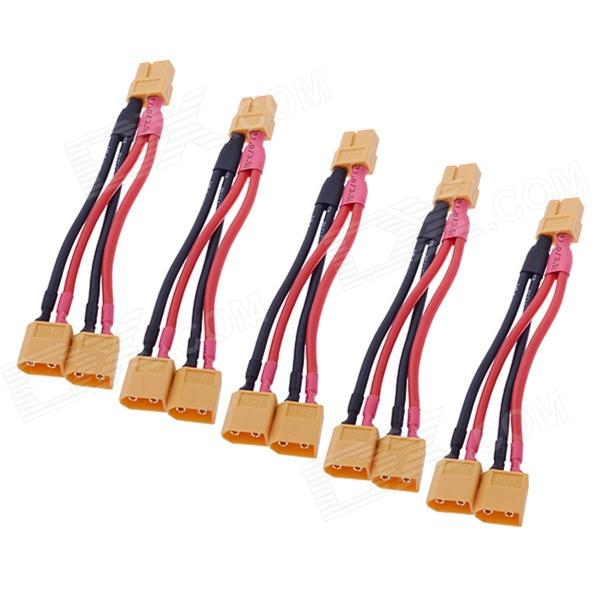XT60 Male to 2 XT60 Female Connecting Wire - Black + Red (5 PCS) xt60 male to 2 xt60 female connecting wire black red 5 pcs