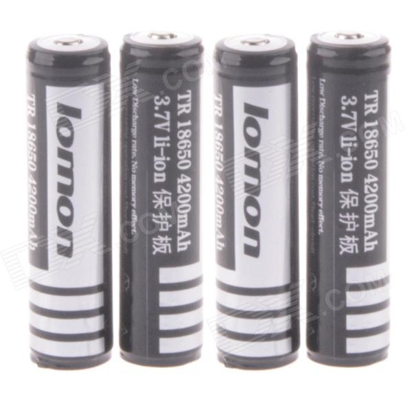 Lomon Rechargeable 3.7V 1800mAh 18650 Li-ion Battery with Protection Board - Black + White (4PCS) 10pcs 2017 new 18650 lithium li ion battery gtf 9900mah rechargeable battery for led flashlight torch low reoccurring wholesale