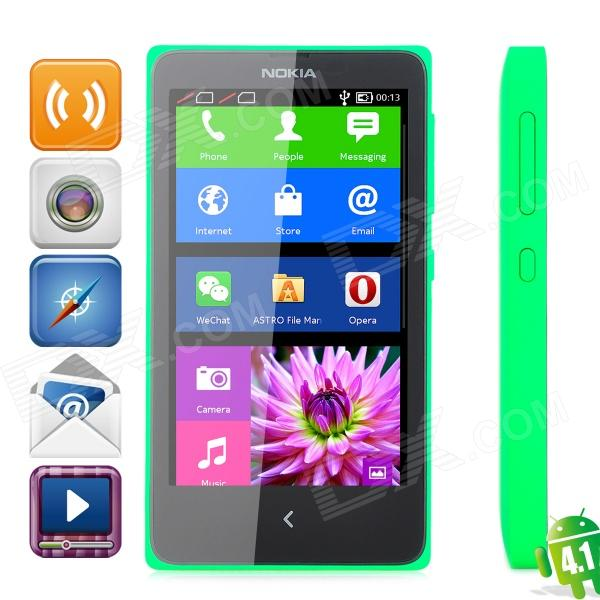 Nokia X Android 4.1 WCDMA Dual-core Bar Phone w/ 4.0 Screen, Wi-Fi and Bluetooth - Jade Green dc v100 15mp cmos digital camera w 5x optical zoom 4x digital zoom sd slot pink 2 7 tft