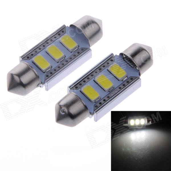 36mm 1.5W 100lm 3-SMD 5730 LED White Indoor Light / Reading Lamps - Silver + Yellow (2 PCS)