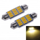 LY620 Festoon 39mm 4.5W  9-SMD 5730 LED White Indoor Light / Reading Lamps - Silver + Yellow (2 PCS)