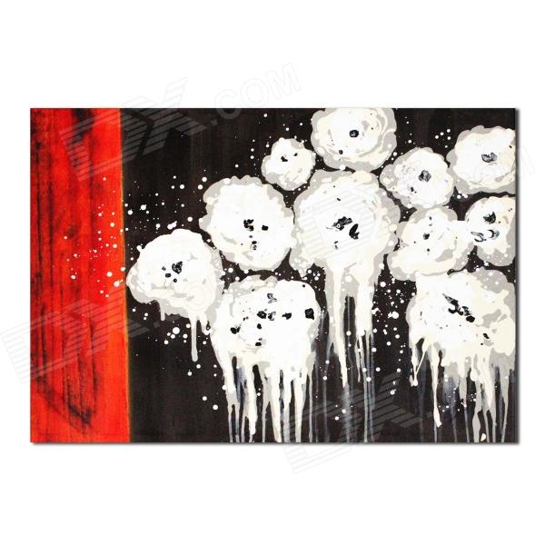 Iarts DX0415-19 Abstract White Cotton Hand Painted Oil Painting - White + Black + Red iarts hand painted blue vase oil painting 60 x 40cm