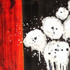 Iarts DX0415-19 Abstract White Cotton Hand Painted Oil Painting - White + Black + Red
